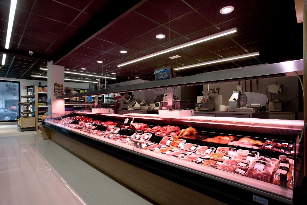 iluminación vitrina carnicería